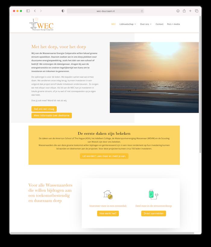 Website Wassenaarse Energie Coöperatie
